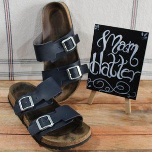 Betula Birkenstock Navy Two Strap Sandals